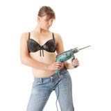 Sexy lady with a drill Stock Photos