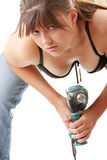 Sexy lady with a drill Royalty Free Stock Photos