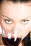 Sexy lady with a glass of red wine Stock Photo
