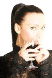 lady with a glass of red wine Stock Photo