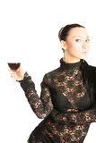 Sexy lady with a glass of red wine Stock Photography