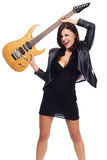 Sexy lady with a guitar Stock Photo