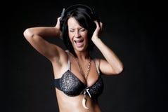 Sexy lady with headphones Stock Photo