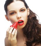 Sexy lady holding a juicy strawberry Stock Images