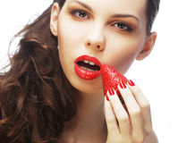 lady holding a juicy strawberry royalty free stock photo