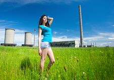 lady in an industrial background Royalty Free Stock Photography