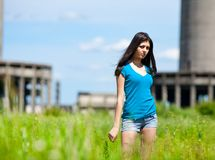 lady in an industrial background Stock Photo