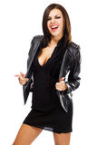 Sexy lady in leather jacket Royalty Free Stock Image