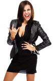 Sexy lady in leather jacket Stock Photos