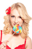 Sexy lady licking a lollipop Stock Photo