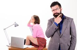 Sexy lady office worker. Sexy personal secretary. Full of desire. Having crush at work boost sexual desire. Bearded boss. Stand in front of sexy girl working stock photos