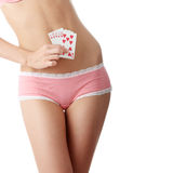 Sexy lady with poker combination Royalty Free Stock Image