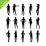 Sexy lady silhouettes vector set 3 Royalty Free Stock Photos