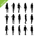 Sexy lady silhouettes vector set 6 Stock Photo
