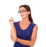 Sexy lady with spectacles looking at you Royalty Free Stock Image
