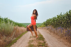 Sexy lady with suitcase in mini dress beside corn Royalty Free Stock Photos