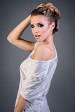 Sexy lady in white t-shirt Stock Photography