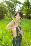 Sexy Landbouwer met schop stock foto