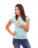 latin lady with great job gesture Stock Images
