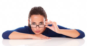 Sexy latin woman with glasses looking at you Royalty Free Stock Photography