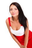 Sexy latin woman in short red hot dress Stock Photos