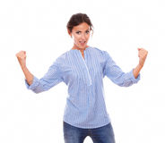 Sexy latin woman with winning fists Royalty Free Stock Photos