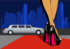 leg with city. Female legs in high heels walk on the red carpet. Vector illustration Royalty Free Stock Image