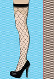 Leg in Fishnets. Woman's leg in in black fishnets against a repeating fishnet background royalty free illustration