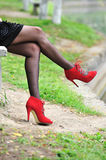 Sexy leg with red shoes Stock Image