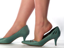 Sexy legs. Sexy lady's legs in shoes on heels close-up Stock Photos