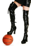 Sexy Legs with Basketball Royalty Free Stock Images