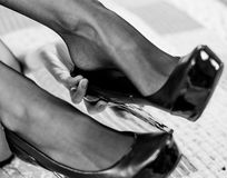 Sexy legs black shoes Royalty Free Stock Photos
