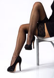 Sexy legs in black stockings Royalty Free Stock Images