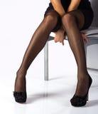 Sexy legs in black stockings Royalty Free Stock Photos