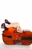 Sexy legs and cello Royalty Free Stock Photography