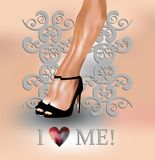 Sexy legs and love me concept. Sexy female legs with I love me concept on grey baroque background Royalty Free Stock Photography