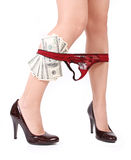 Sexy legs with panties down and money Stock Images