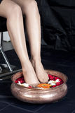 legs in Pedicure Bowl stock photos