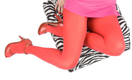Sexy legs in pink stockings and high heels. Royalty Free Stock Photography