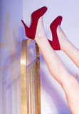 Sexy legs in red shoes Royalty Free Stock Image