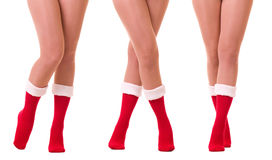 Sexy legs in Santa Claus's sock Royalty Free Stock Photography