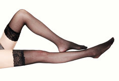Sexy legs in stockings Royalty Free Stock Photography