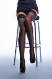 Sexy legs of a woman in a skirt and stockings Royalty Free Stock Photo