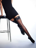 Sexy legs of a young woman in black stockings Stock Photography