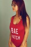 Leibwächter, der eine rote Badebekleidung trägt Lizenzfreie Stockfotos