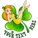 leprechaun girl on big green clover leaf Royalty Free Stock Images