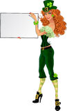 Sexy Leprechaun girl in green suit with small plac Royalty Free Stock Images