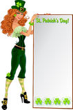 Sexy Leprechaun girl with placard for text Stock Photo
