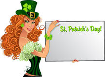 Sexy Leprechaun girl with small placard for text Royalty Free Stock Photos