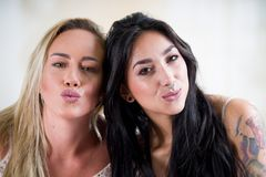 Sexy lesbians lovers at morning, blonde and brunette girls, in a white background.  Royalty Free Stock Image